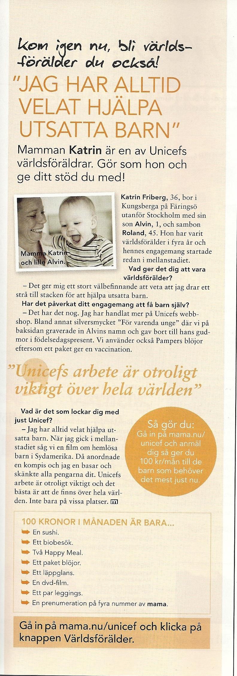 Alvin och jag i Tidningen Mama nr 11-2010